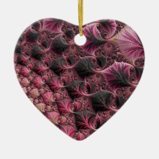 Pink Fractal Ceramic Ornament