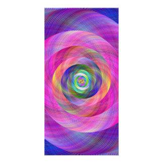 Pink fractal photo card