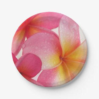 Pink Frangipani 7 Inch Paper Plate