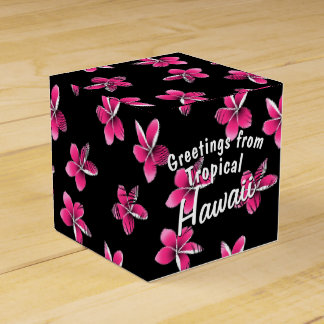 Pink frangipani favor box