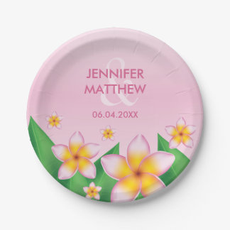 Pink Frangipani Flowers Tropical Wedding 7 Inch Paper Plate