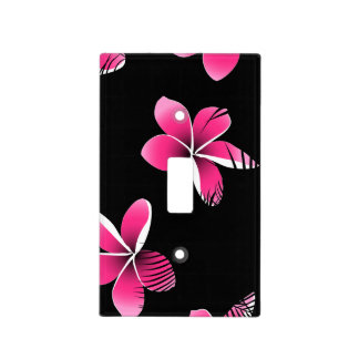 Pink frangipani light switch cover