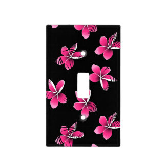 Pink frangipani light switch cover