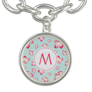 Pink Frangipani Monogram Aqua Charm Bracelet