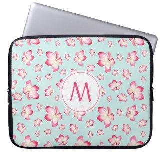 Pink Frangipani Monogram Aqua Laptop Sleeve