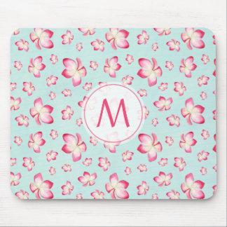 Pink Frangipani Monogram Aqua Mouse Pad