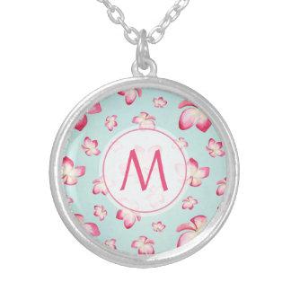 Pink Frangipani Monogram Aqua Silver Plated Necklace