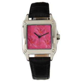 Pink_Frangipani_Passion_Ladies_Square_Black_Watch Wrist Watch