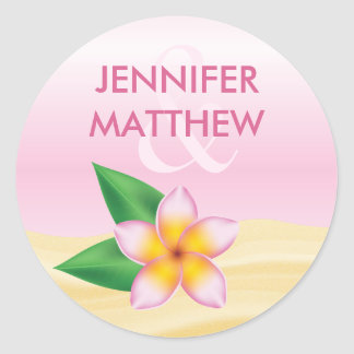 Pink Frangipani Tropical Flower Summer Wedding Classic Round Sticker