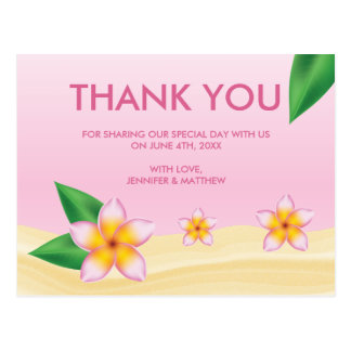 Pink Frangipani Tropical Wedding Thank You Postcard