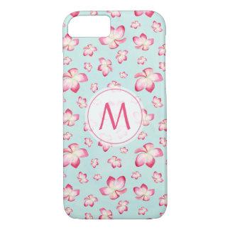 Pink Frangipani Watercolor Monogram iPhone 8/7 Case