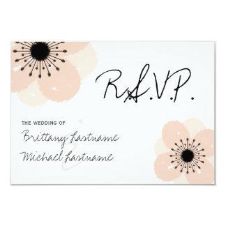 Pink French Anemone Wedding RSVP Card
