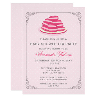 pink french macaron baby shower tea party invites