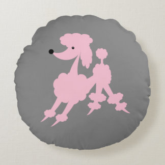 Pink French Poodle on Light Gray Round Pillow
