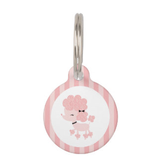 Pink French Poodle Pet ID Tag