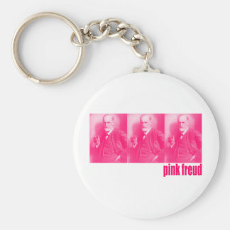 Pink Freud Basic Round Button Keychain