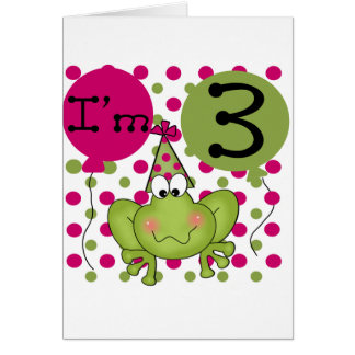 Pink Frog 3rd Birthday Tshirts and Gifts Card
