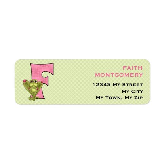 """Pink Frog Monogram """"F"""" Address Labels"""