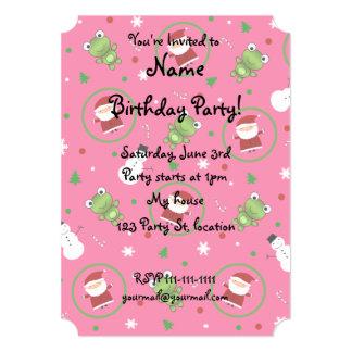 "Pink frogs santa claus snowmen 5"" x 7"" invitation card"