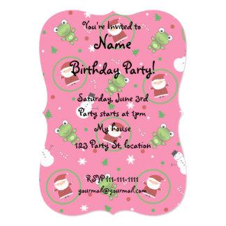 Pink frogs santa claus snowmen 5x7 paper invitation card