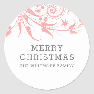 Pink Frost Merry Christmas Classic Round Sticker