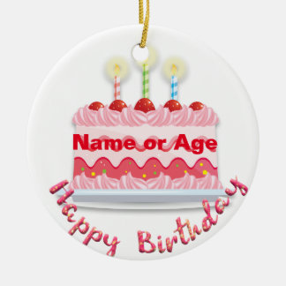 Pink Frosted Birthday Cake with Candles Ceramic Ornament