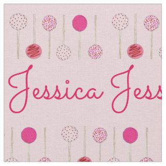 Pink Frosted Cake Pops Personalized Fabric