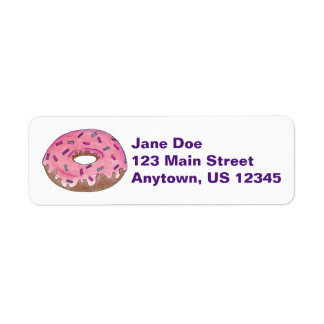 Pink Frosted Donut Doughnut w/ Sprinkles Labels