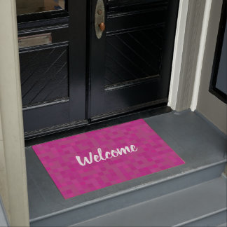 Pink fuchia mosaic tiles welcome door mat