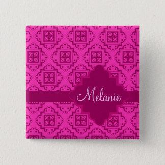 Pink Fuchsia Arabesque Moroccan Graphic 2 Inch Square Button