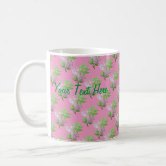 Pink fuchsia flower with leaves water colour art classic white coffee mug