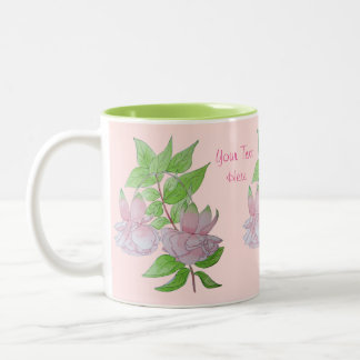 Pink fuchsia flower with leaves water colour art Two-Tone mug