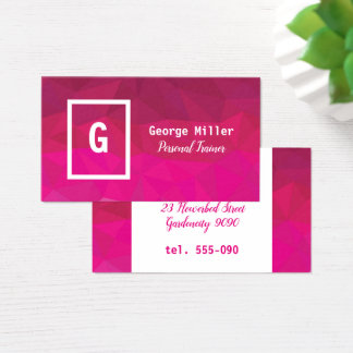 Pink fuchsia geometric design business card