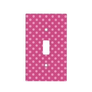 Pink fuchsia polka dot light switch