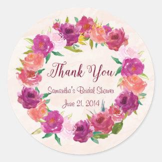 Pink Fuchsia Roses Round Stickers