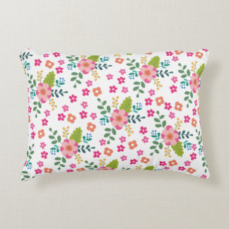 Pink Fuchsia Spring Flower Pattern, Girly Floral Decorative Pillow