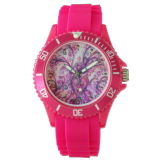 PINK FUCHSIA WHIMSICAL FLOURISHES WITH HEART WATCH
