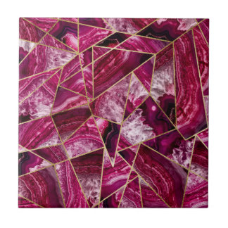 Pink Fuchsia White Agate Gold Geometric Triangles Tile