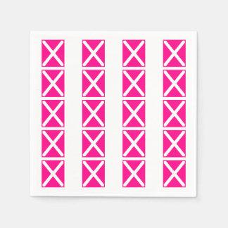 Pink Fuchsia X Marks the Spot Paper Napkins