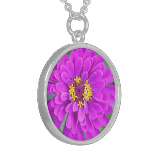 PINK/FUCHSIA ZINNIA STERLING SILVER NECKLACE