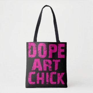 Pink Funk Dope Art Chick Tote Pink on Black