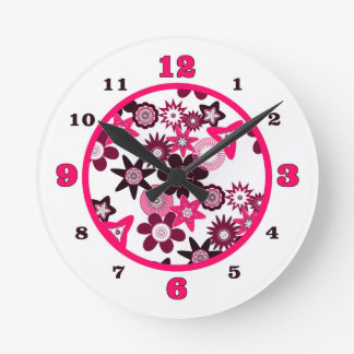 Pink Funky Flowers Round Clock
