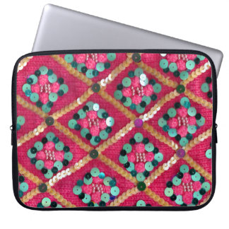 Pink Funky Knitted Glam Textile Design Laptop Sleeve