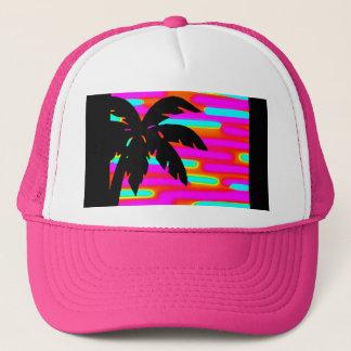 PINK FUNKY SUNSET PALM TREE BALL CAP/HAT TRUCKER HAT