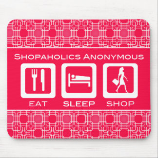 Pink Funny Shopaholic Eat Sleep Shop Award Mouse Pad