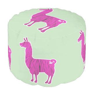 Pink Furry Llama Pouf