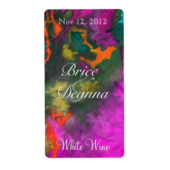 Pink Fusion 2 Wedding Wine Label Shipping Label