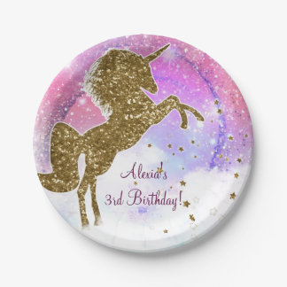 Pink Galaxy Magical Unicorn Sparkle Birthday Party Paper Plate