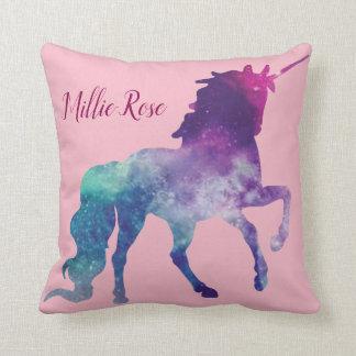 pink galaxy unicorn personalized throw pillow