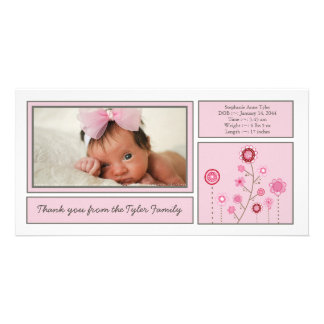 Pink Garden Baby Girl Thank You Photo Card